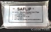 50 Double Pocket 2.5x2.5 SAFLIP Safety Coin Flips