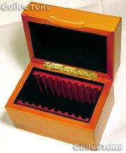 Vertical Row Wooden Coin Box for 10  Slab Holders