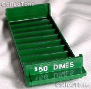 Color-Coded Plastic Coin Roll Tray for 10 DIME Rolls
