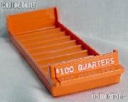 Color-Coded Plastic Coin Roll Tray for 10 QUARTER Rolls