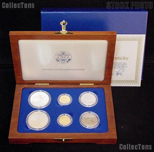 1986 Statue Of Liberty Commemorative 6 Coin Set W Gold
