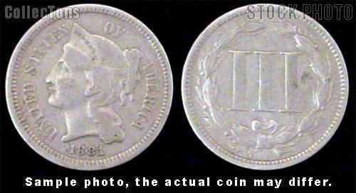Nickel Three-Cent Pieces 1865-1889 *5 Different Coins