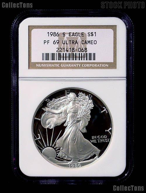 1986 S American Silver Eagle Dollar Proof In Ngc Pf 69