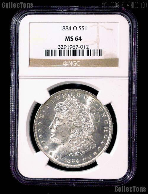 1884-O Morgan Silver Dollar in NGC MS 64