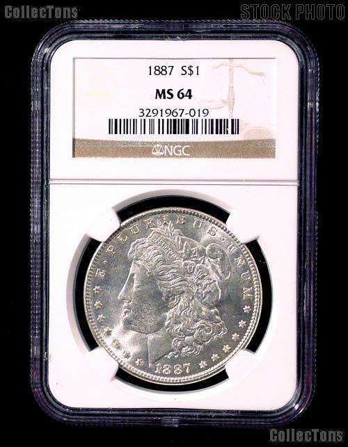 1887 Morgan Silver Dollar in NGC MS 64
