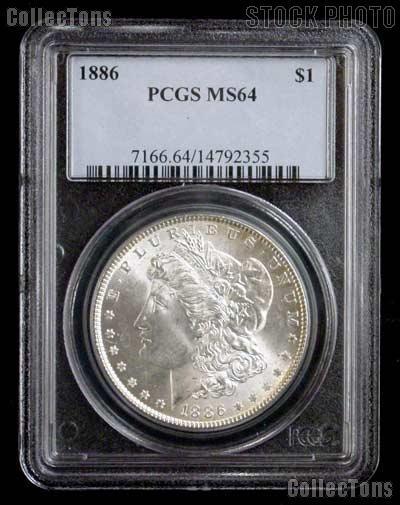 1886 Morgan Silver Dollar in PCGS MS 64