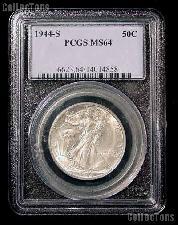 1944-S Walking Liberty Half Dollar in PCGS MS 64