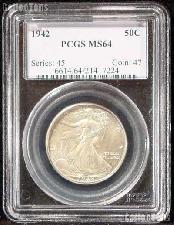 1942 Walking Liberty Half Dollar in PCGS MS 64