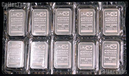 10 Johnson Matthey 1 Ounce 999 Silver Bars In Sealed Sheet