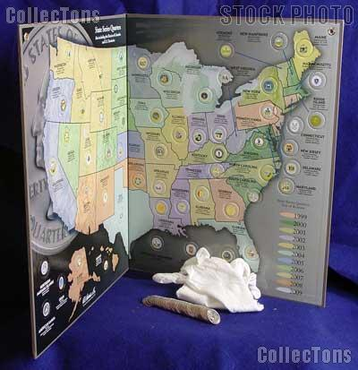 State Quarters Map Complete Set of State, DC & Territory Quarters 1999-2009 & Harris State Quarters Map w/ Gloves