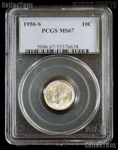 1950-S Key Date Roosevelt Silver Dime in PCGS MS 67