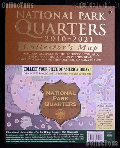 America The Beautiful Quarters Map by Harris for National Parks Quarter Program 2010 - 2021