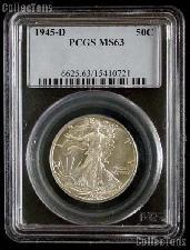 1945-D Walking Liberty Silver Half Dollar in PCGS MS 63
