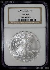 2004 American Silver Eagle Dollar in NGC MS 69