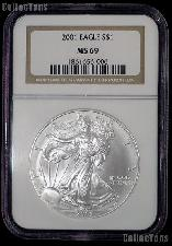 2001 American Silver Eagle Dollar in NGC MS 69