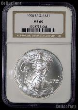 1998 American Silver Eagle Dollar in NGC MS 69