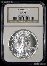 1988 American Silver Eagle Dollar in NGC MS 69