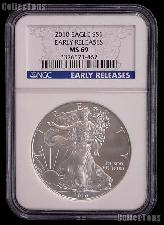 2010 American Silver Eagle Dollar EARLY RELEASES in NGC MS 69
