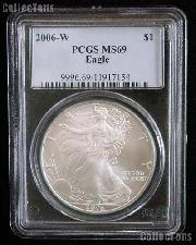 2006-W American Silver Eagle Dollar Burnished in PCGS MS 69