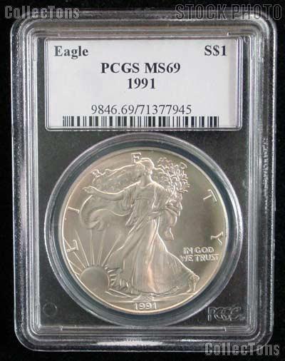 1991 American Silver Eagle Dollar in PCGS MS 69