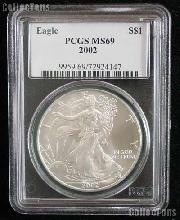 2002 American Silver Eagle Dollar in PCGS MS 69