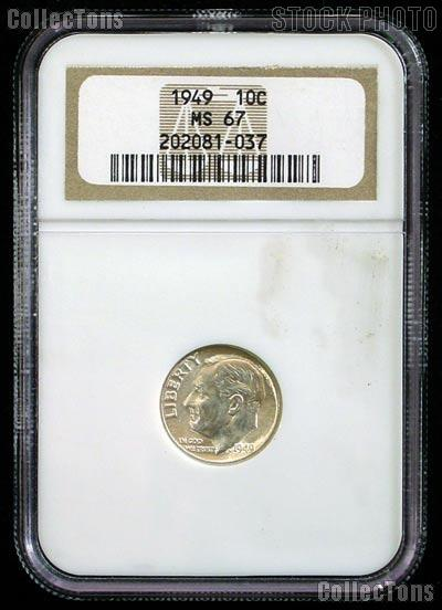 1949 Roosevelt Silver Dime in NGC MS 67