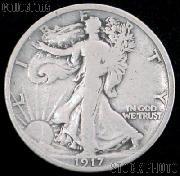 1917-D Walking Liberty Silver Half Dollar Reverse Mintmark Circulated Coin G 4 or Better