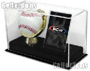 Baseball & Card Case by BCW Deluxe Acrylic Gold Glove Baseball and Card Display