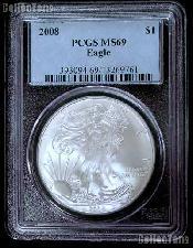 2008 American Silver Eagle Dollar in PCGS MS 69