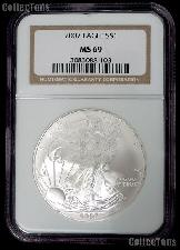 2007 American Silver Eagle Dollar in NGC MS 69