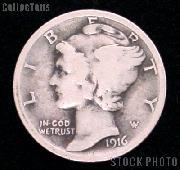 1916 Mercury Silver Dime 1916 Mercury Dime Circ Coin G 4 or Better