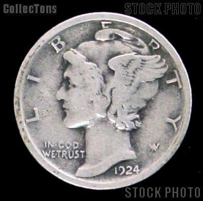 1924 S Mercury Silver Dime 1924 Mercury Dime Circ Coin G 4