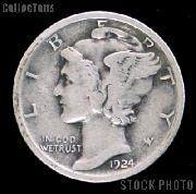 1924 Mercury Silver Dime 1924 Mercury Dime Circ Coin G 4 or Better