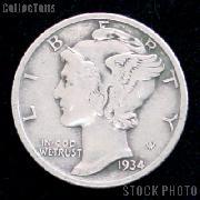 1934 Mercury Silver Dime 1934 Mercury Dime Circ Coin G 4 or Better