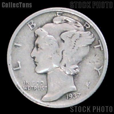 1937 Mercury Silver Dime 1937 Mercury Dime Circ Coin G 4