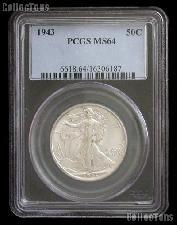 1943 Walking Liberty Silver Half Dollar in PCGS MS 64