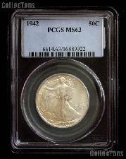 1942 Walking Liberty Silver Half Dollar in PCGS MS 63
