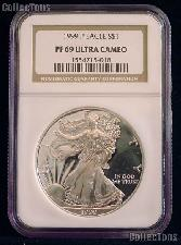 1999-P American Silver Eagle Dollar PROOF in NGC PF 69 ULTRA CAMEO