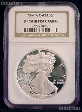 2007-W American Silver Eagle Dollar PROOF in NGC PF 69 ULTRA CAMEO