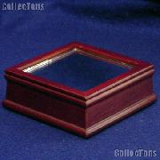 Wood Base for Baseball Cube by BCW Woodbase for Baseball Square w/ Mirror