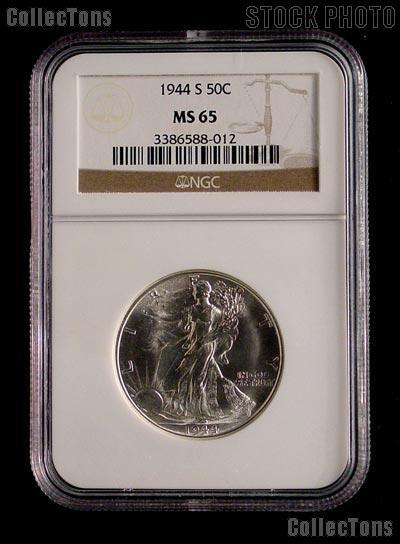 1944-S Walking Liberty Silver Half Dollar in NGC MS 65