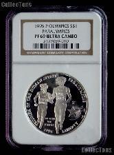 1995-P Atlanta Olympics Paralympics Blind Runner Commemorative Proof Silver Dollar in NGC PF 69 Ultra Cameo