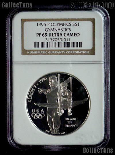 1995-P Gymnastics Atlanta XXVI Olympic Games Silver Dollar Coin in NGC PF 69 Ultra Cameo