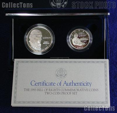1993 Bill Of Rights Commemorative 2 Coin Proof Set 59 99