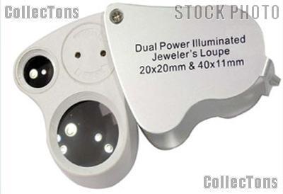 Jeweler's Loupe Illuminated Dual Lens Magnifier 20x & 40x