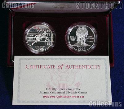 1995 Atlanta Xxvi Olympics Games 2 Coin Proof Set W Track
