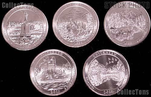 2011 National Park Quarters Complete Set Denver (D) Mint  Uncirculated (5 Coins) PA, MT, WA, MS, OK