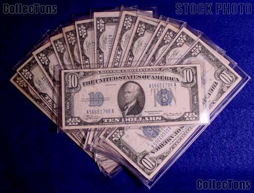 Ten Dollar Bill Small Size Blue Seal 1934 Silver