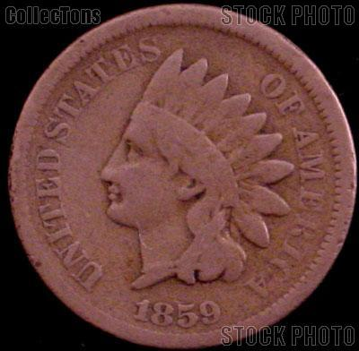 1859 Indian Head Cent Variety 1 Laurel Wreath Reverse G-4 or Better Indian Penny
