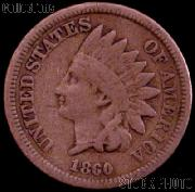 1860 Indian Head Cent Variety 2 Oak Wreath w/ Shield G-4 or Better Indian Penny